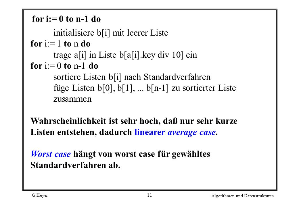 for i:= 0 to n-1 do initialisiere b[i] mit leerer Liste. for i:= 1 to n do. trage a[i] in Liste b[a[i].key div 10] ein.